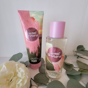 Pink Victoria's Secret Sweet Orchard lotion and mist set